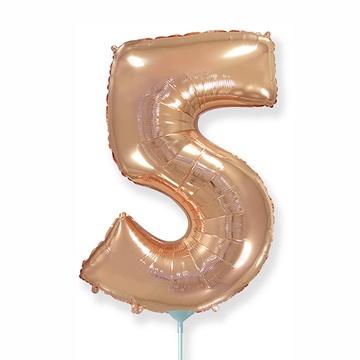 Шар 41 см Мини - Цифра 5 Розовое Золото
