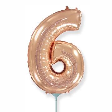 Шар 41 см Мини - Цифра 6 Розовое Золото