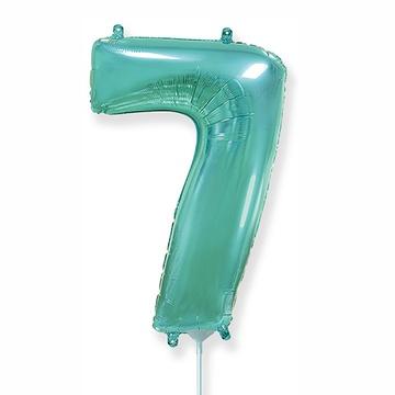 Шар 41 см Мини - Цифра 7 Бирюзовый