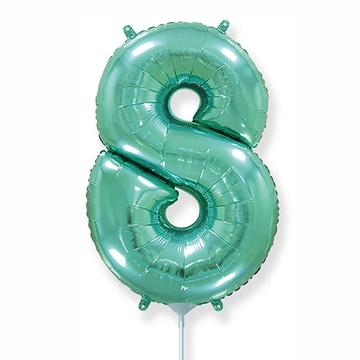 Шар 41 см Мини - Цифра 8 Бирюзовый