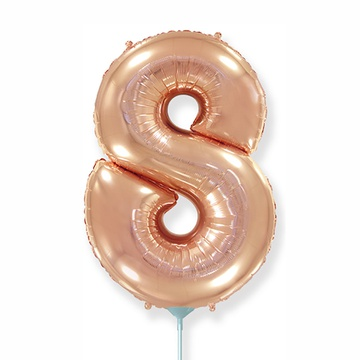 Шар 41 см Мини - Цифра 8 Розовое Золото