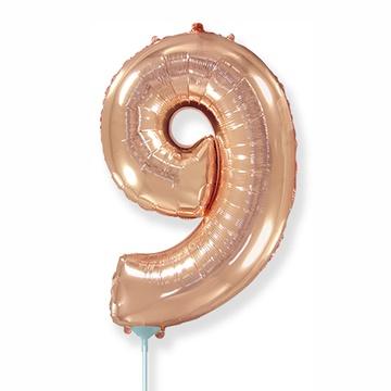 Шар 41 см Мини - Цифра 9 Розовое Золото