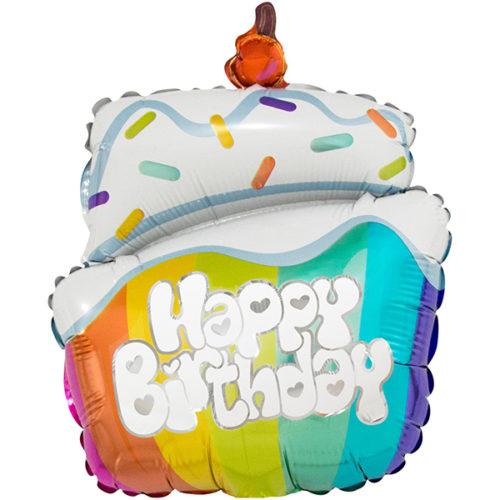 Шар 43 см Мини-фигура Тортик на День Рождения Радужный