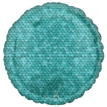Шар 46 см Круг Пайетки Ocean Blue
