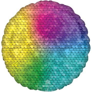 Шар 46 см Круг Пайетки Rainbow