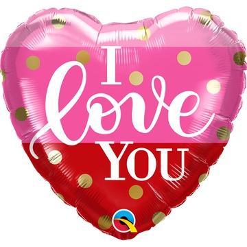 Шар 46 см Сердце ILY розово-красное полосы