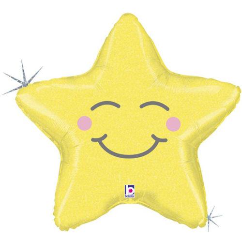 Шар 66 см Фигура Счастливая звезда Золото Голография