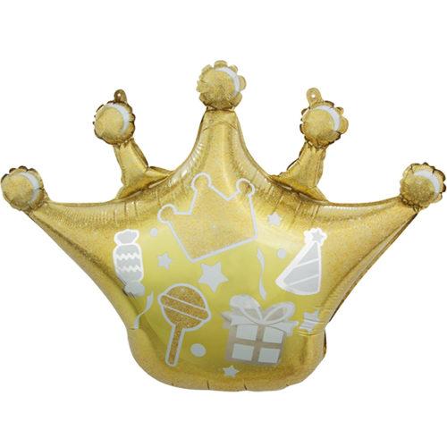 Шар 76 см Фигура Корона Сверкающие искры Золото