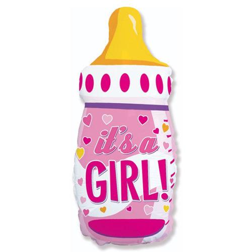 Шар 79 см Фигура Бутылочка для девочки сердечки Розовый