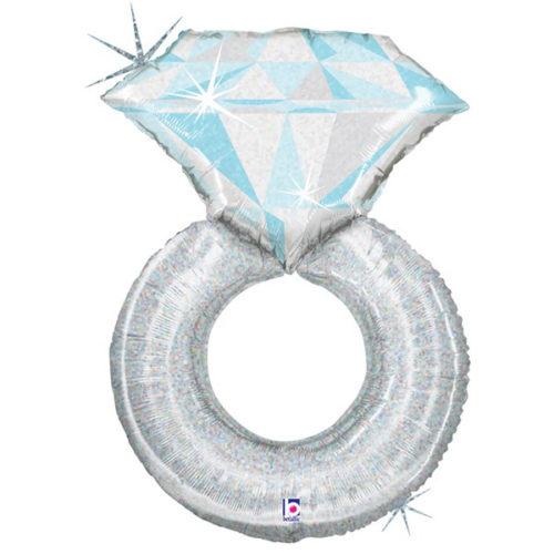 Шар 97 см Фигура Кольцо с бриллиантом Серебро Голография