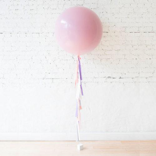 Большой шар розовый с грузиком и гирляндой Тассел Единорог нежность