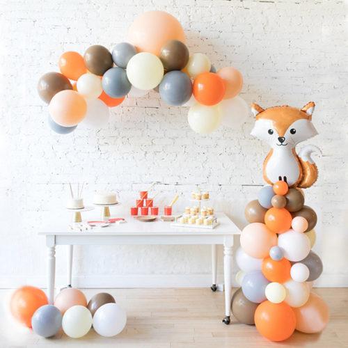 Комплект из шаров Гирлянда Шары на пол и стойка с Лисой Лесные друзья