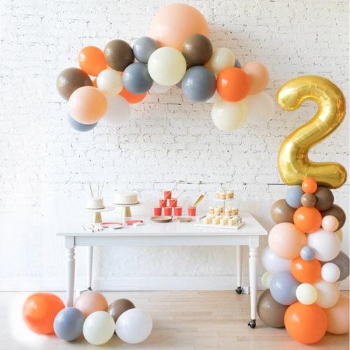 Комплект из шаров Гирлянда Шары на пол и стойка с цифрой 2 Лесные друзья