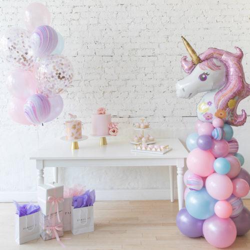 Комплект шаров Фонтан и стойка Единорог Нежность