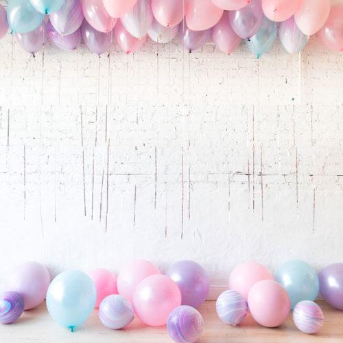 Комплект шаров под потолок и шаров на пол Единорог Нежность