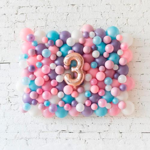 Панно из шаров с Цифрой 3 Единорог нежность