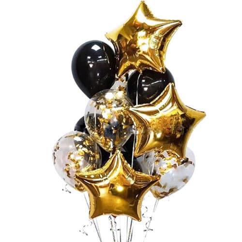 Связка из 10 шаров со Звездами И конфетти Черный и Золото