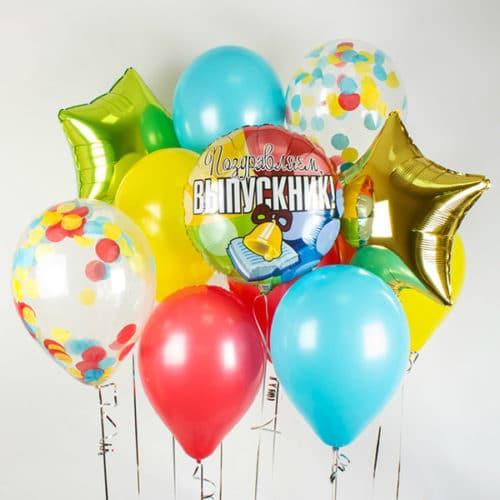 Связка из 12 шаров со Звездами и Конфетти Выпускник Яркий