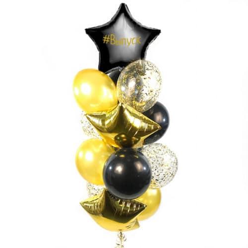 Связка из 13 шаров и Звезда Черный Индивидуальная надпись