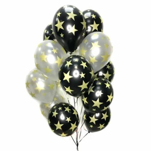 Связка из 13 шаров с рисунком Звезды Черный и Белый