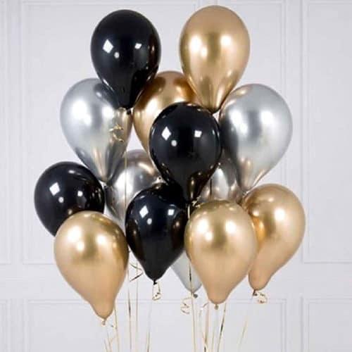 Связка из 15 шаров Серебро Черный и Золото Хром