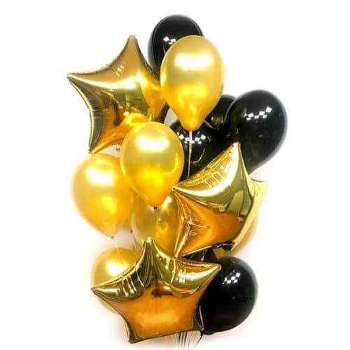 Связка из 15 шаров со Звездами Черный и Золото