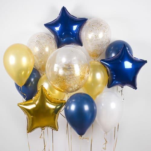 Связка из 15 шаров со Звездами и Конфетти Синий и Золото