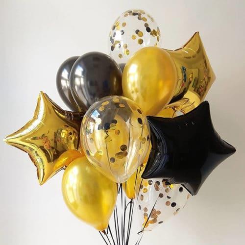 Связка из 15 шаров со Звездами и Конфетти Черный и Золото