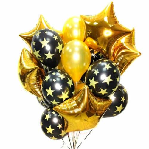 Связка из 17 шаров Принт со Звездами Черный и Золото