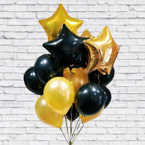 Связка из 17 шаров со Звездами Черный и Золото