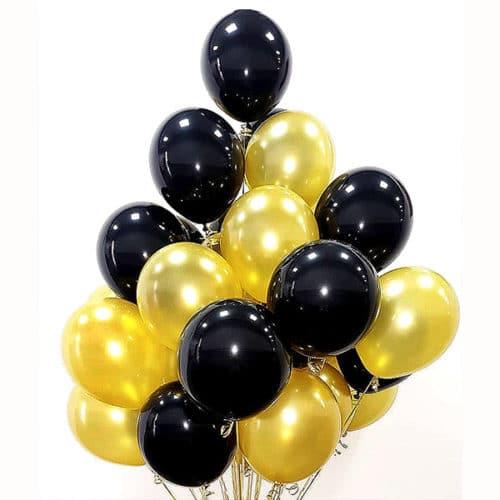 Связка из 20 круглых шаров Черный и Золото
