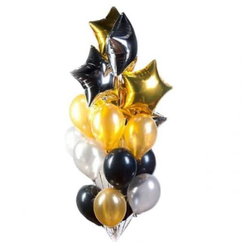 Связка из 20 шаров со Звездами Черный и Золото