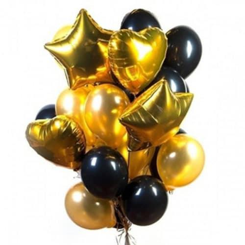 Связка из 20 шаров со Звездами и Сердцами Черный и Золото