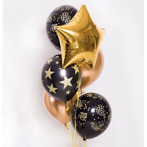 Связка из 6 шаров со Звездами Черный и Золото