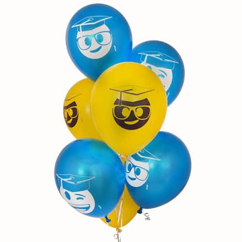 Связка из 7 шаров Выпускники Синий и Желтый