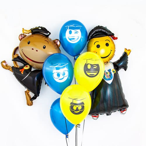 Связка из 7 шаров с Выпускниками Синий и Желтый