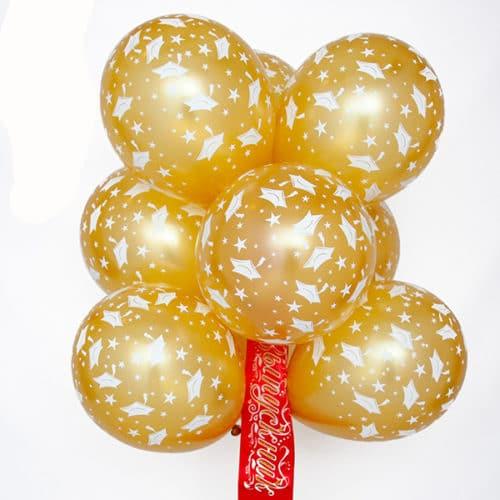 Связка из 9 шаров с рисунком Выпускник Золото с Лентой