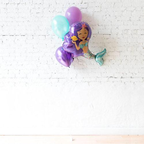 Фонтан из 3 шаров Ассорти и шар фигурный Русалочка