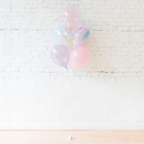 Фонтан из 5 шаров Ассорти Единорог нежность