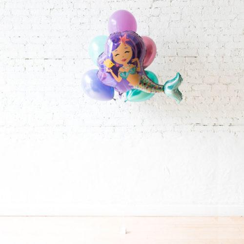 Фонтан из 5 шаров Ассорти и шар фигурный Русалочка