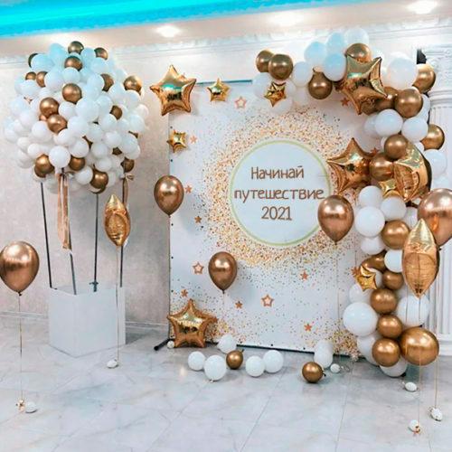 Фотозона Баннер Воздушый шар стойка Шары с грузиками отдельно и Гирлянда Золото Белый