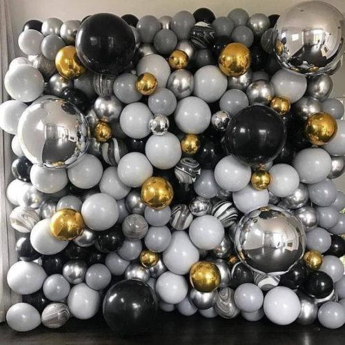 Фотозона Баннер из воздушных шаров Выпускник Серый Черный Серебро Золото