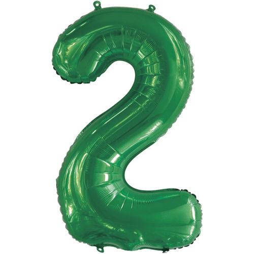 Шар 86 см Цифра 2 Slim Зеленый