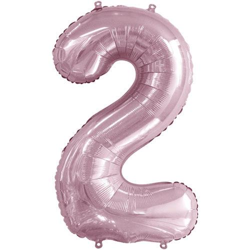 Шар 86 см Цифра 2 Slim Светло-розовый