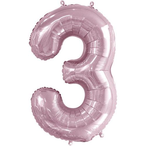 Шар 86 см Цифра 3 Slim Светло-розовый