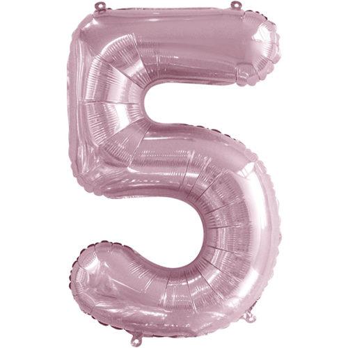 Шар 86 см Цифра 5 Slim Светло-розовый