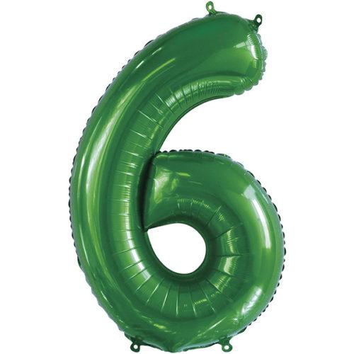 Шар 86 см Цифра 6 Slim Зеленый