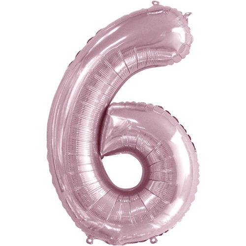 Шар 86 см Цифра 6 Slim Светло-розовый