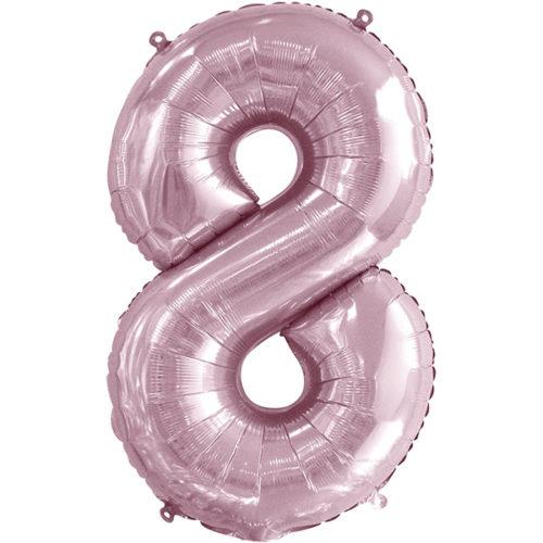 Шар 86 см Цифра 8 Slim Светло-розовый