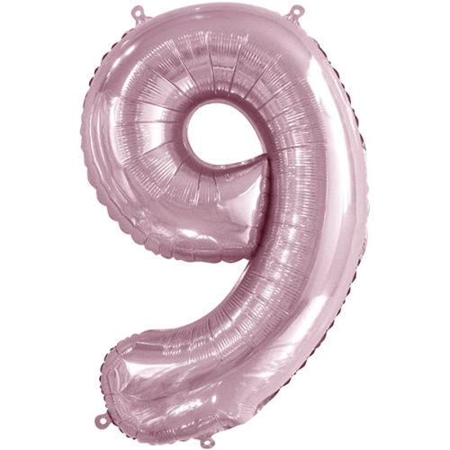 Шар 86 см Цифра 9 Slim Светло-розовый